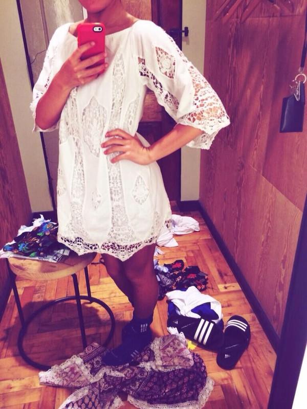 boho dress festival festival dress white dress hippie lace dress big sleeves