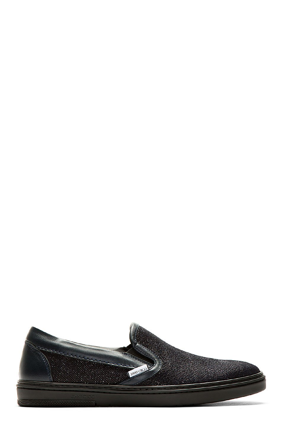 jimmy choo navy sparkle suede grove slip_on shoes