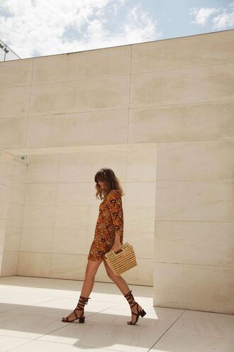 my daily style blogger brown dress orange orange dress mini dress summer dress summer outfits printed dress gladiators raffia bag handbag