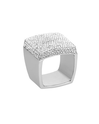 Michael Kors Pave Signet Ring, Silver Color - Michael Kors