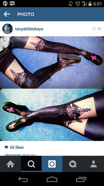 leggings black lace dress lace thigh highs peek a boo pants legs