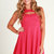 Pink Cocktail Dress - Pink cut out skater dress | UsTrendy