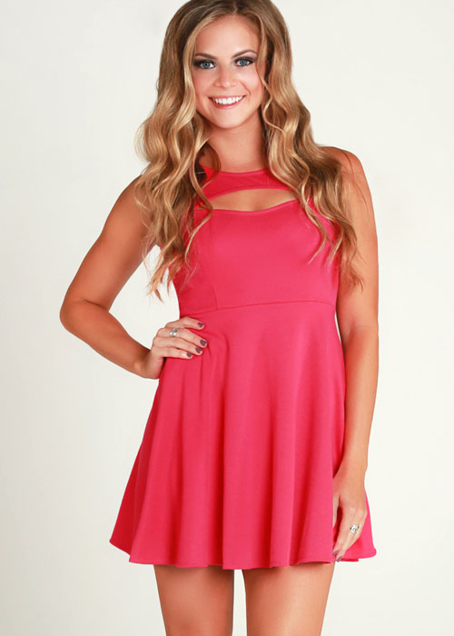 Pink Cocktail Dress - Pink cut out skater dress | UsTrendy