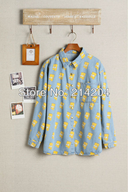 Free shipping!Cartoon Portrait Head Bart Simpson Blue thick print denim shirt one pocket girls hot fashion spring lovers clothes-inDenim Clothings from Apparel & Accessories on Aliexpress.com