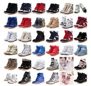 Ankle Women's High Top Velcro Strap Wedge Hidden Heel Sneaker Boots Shoes 35 41 | eBay