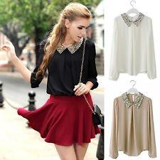 New S M L XL Shirt Sequin Peter Pan Collar Puff Sleeve Sheer Loose Blouse Tops J | eBay