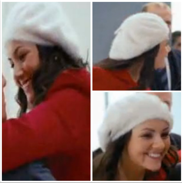 hat beret white winter outfits love actually christmas paris