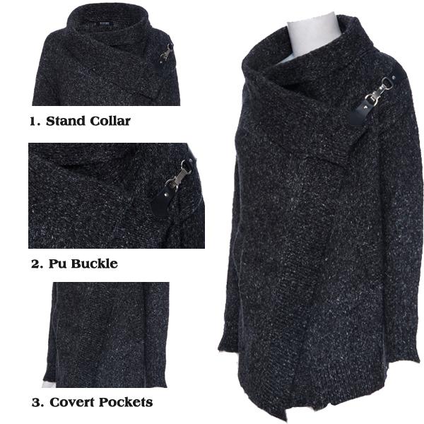 ROMWE | ROMWE Top Rated Asymmetric Drapped Dark-grey Cardigan, The Latest Street Fashion