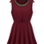 Red Round Neck Sleeveless Bead Pleated Sundress - Sheinside.com