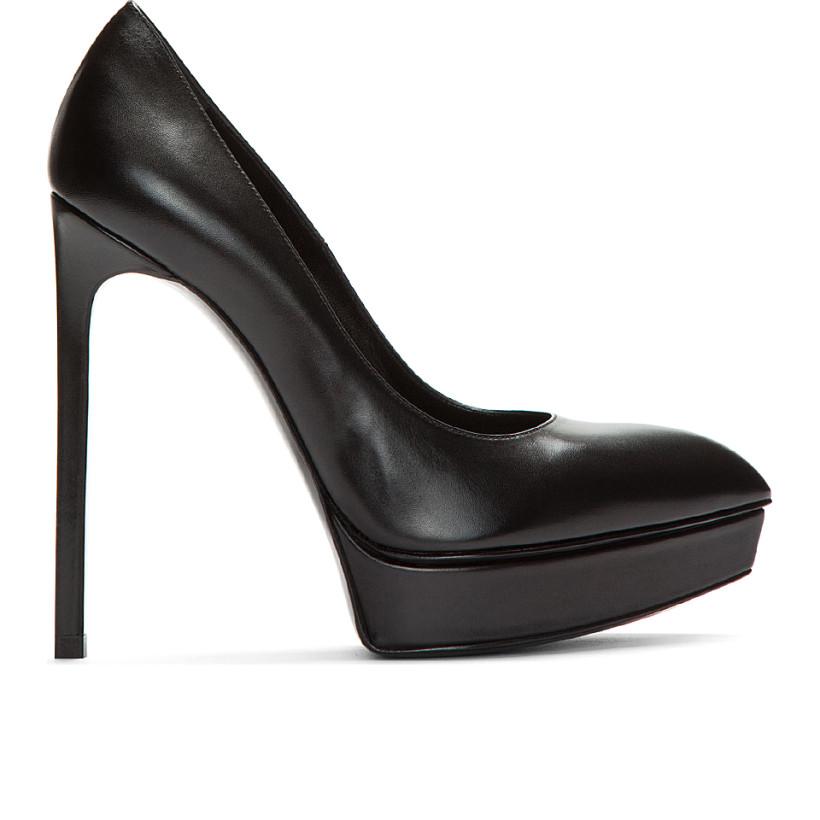 Saint Laurent - Black Leather Classic Janis Platform Pumps   SSENSE