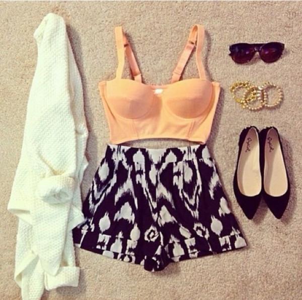 shorts shirt sweater sunglasses shoes jewels bullet bra underwear