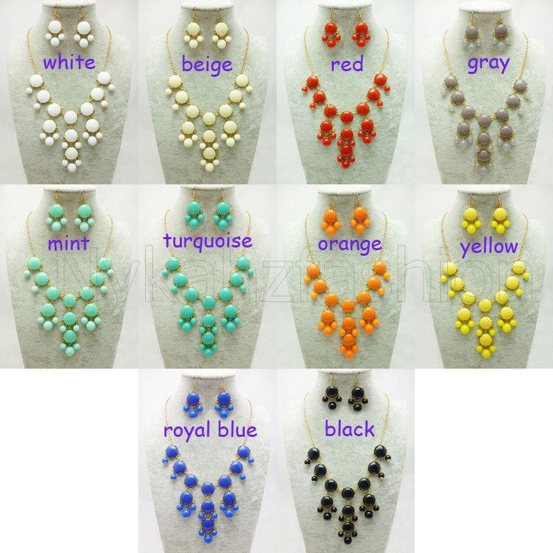Celebrity Fashion Bubble Bib Statement Chain Crew Necklace Earrings Set | eBay