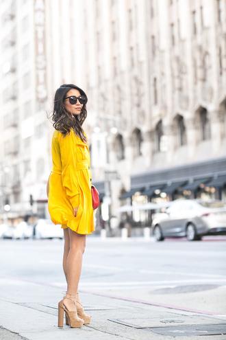 wendy's lookbook blogger bag sunglasses yellow dress thick heel nude heels mini dress long sleeve dress mustard dress