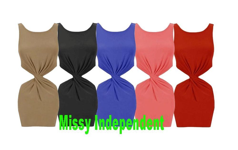 New Womens Ladies Sleeveless Twist Front Cut Out Bodycon Mini Dress Top 8-14 | eBay