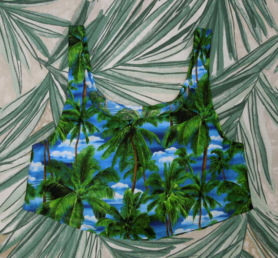 Palm Tree Print Crop Top by mysticblueberries on Etsy