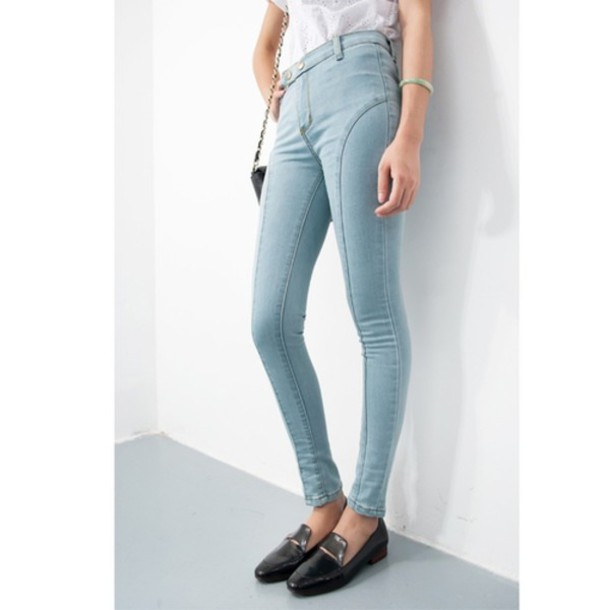 pants jeans high waisted jeans light blue skinny jeans light blue jeans