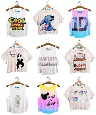 shirt crop tops disney quote on it cute blouse jumpsuit underwear cute outfits tank top t-shirt lilo and stitch toy story psy gangnam style disney tanks clothes half crop top flowy top pink shoes