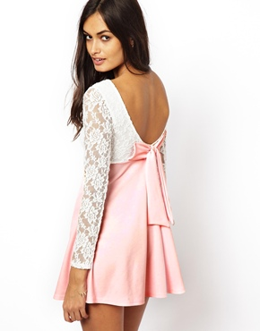 Club L   Club L Long Sleeve Lace Dress with Bow Back at ASOS