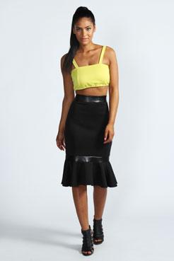 Emily Pelmet Hem Scuba Midi Skirt at boohoo.com