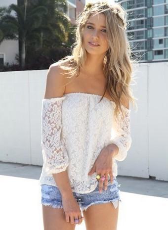 White Off The Shoulder Lace Blouse - Sheinside.com