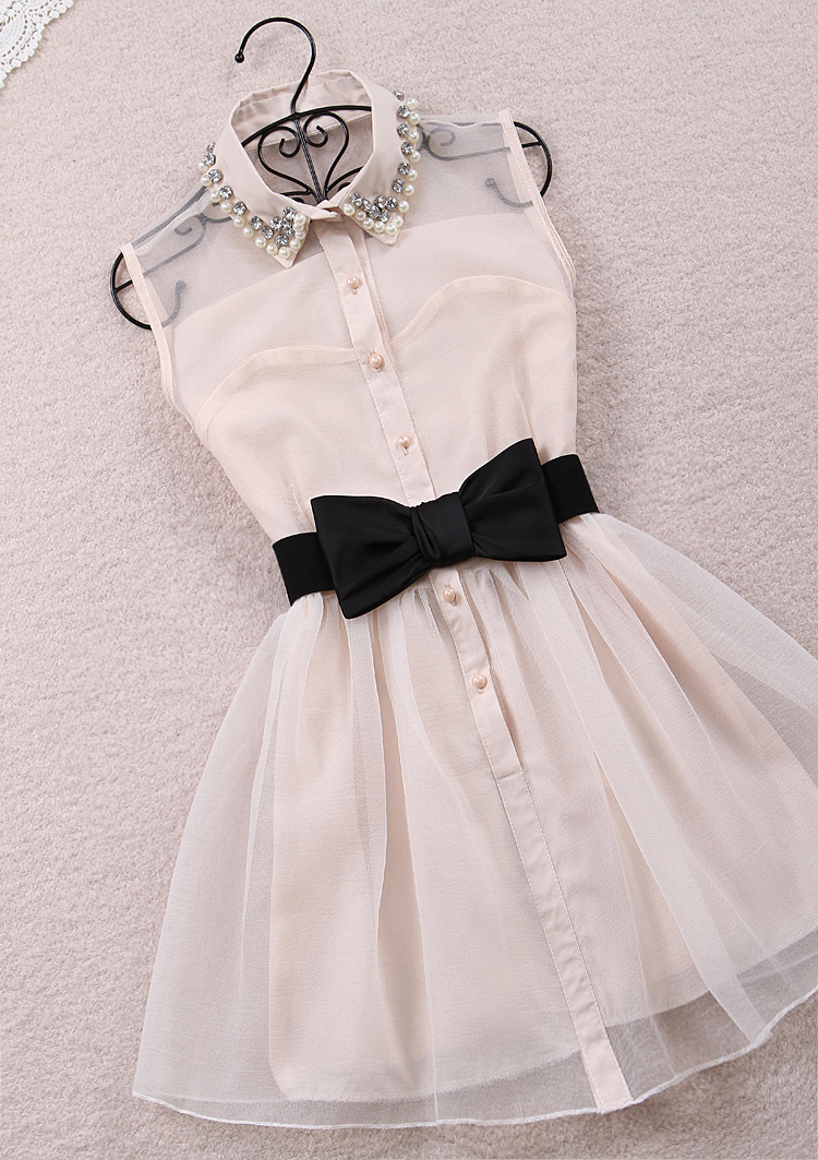 2013 autumn winter pearl diamond lapel sleeveless chiffon Slim korean style gauze  Black designer dresses beige tutu Belt Free-in Dresses from Apparel & Accessories on Aliexpress.com
