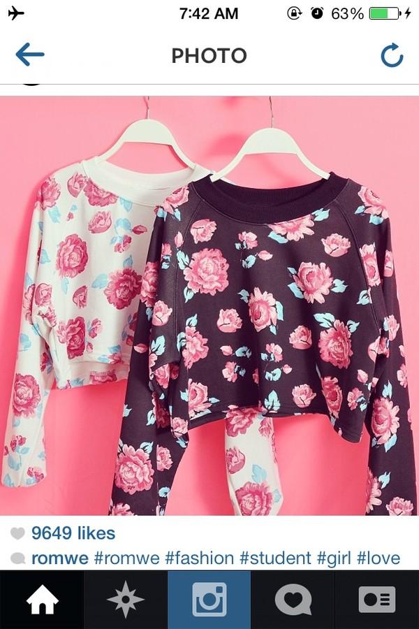 sweater flowers black pink cute