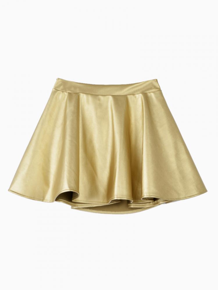 Golden Leather Look Mini Skater Skirt   Choies