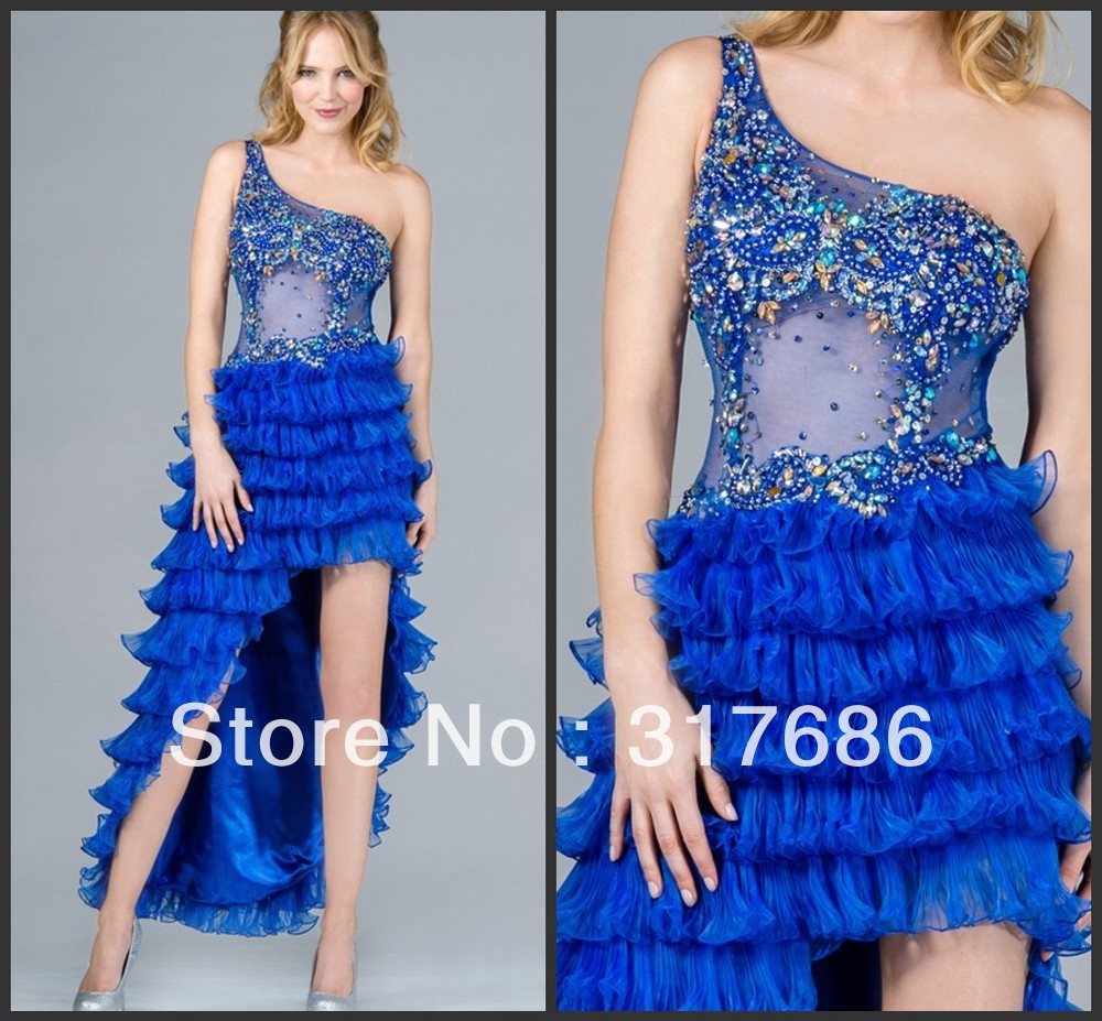 2013 Latest Unique sheer top tiered skirt One shoulder gorgeous beaded royal blue high low prom dresses-in Prom Dresses from Apparel & Accessories on Aliexpress.com