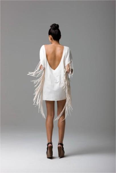 dress white white dress new year's eve new year's eve new year's eve open back open backed dress fringed dress fringes off-white dress mini dress