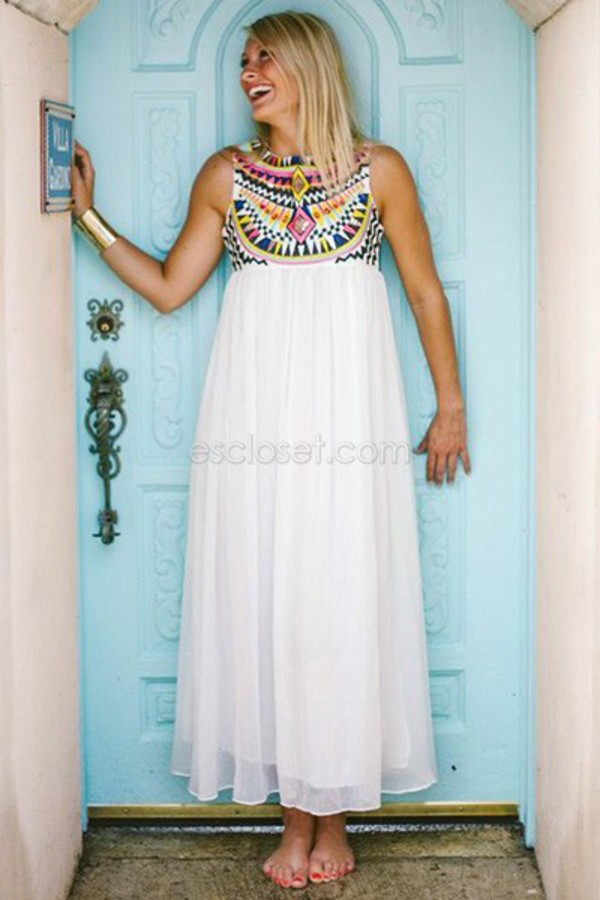 white dress maxi dress embroidered top