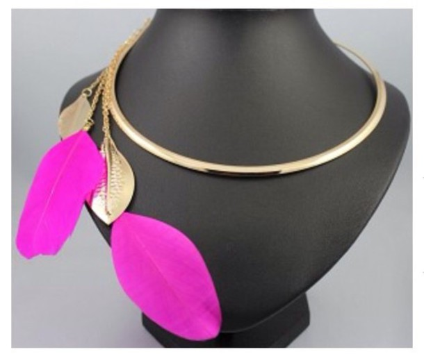 jewels necklace pink feathers feather necklace choker necklace chain