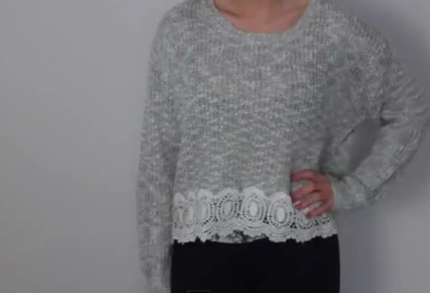 sweater lace detail grey sweater