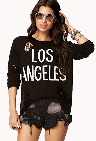 Destroyed Los Angeles Sweater | FOREVER 21 - 2078699321