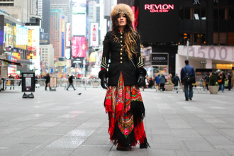 madame rosa blogger gloves folk print jacket skirt shoes scarf