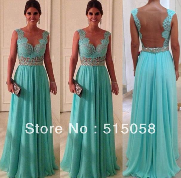 Aliexpress.com : Buy Lace Sweetheart Nude Back Blue Chiffon Sexy Long Party Dresses Evening Prom Gowns 2014 New Fashion Vestidos De Fiesta from Reliable dress patterns evening gowns suppliers on Sunshine Fashion Garment CO,LTD