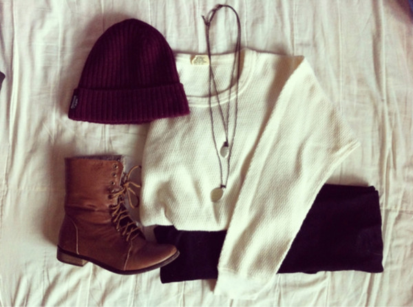 sweater shoes beanie hat cap jeans jeans pull beige marron burgundy pants beautymanifesto tan boots laces comfy military style white jewels combat boots clothes shirt