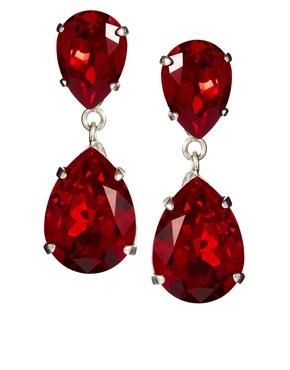 Krystal   Krystal Siam Red Swarovski Crystal Drop Earrings at ASOS