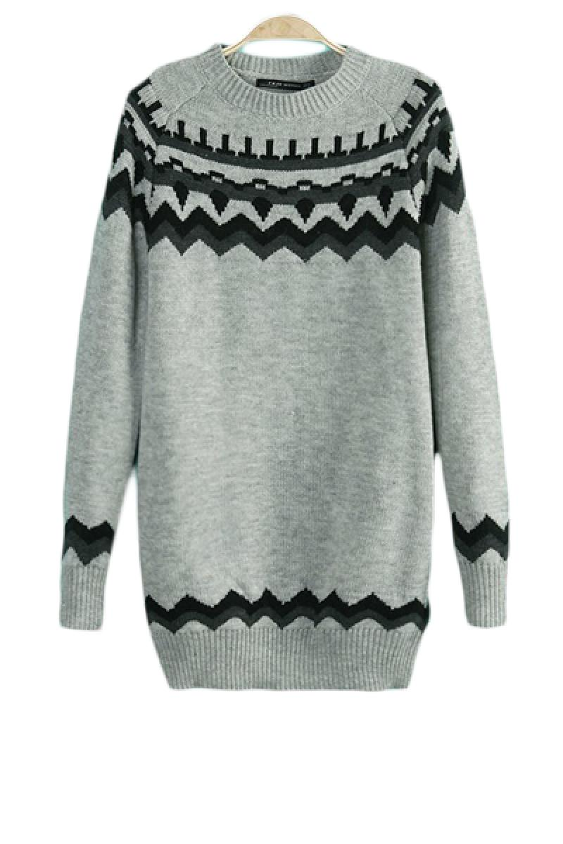 2013 Autumn & Winter New Section Slim Fit Wave Pattern Round Neck Pullover Sweater,Cheap in Wendybox.com