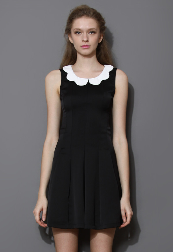 dress little black scalloped collar