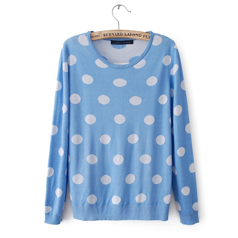 2013 autumn and winter topshop blue and white polka dot print sweater dot pullover sweater-inPullovers from Apparel & Accessories on Aliexpress.com