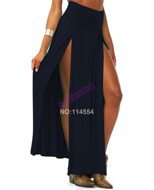 New Popular Trends High Waisted Double Slits Long Skirt Sexy Women Maxi Skirt 18579-in Skirts from Apparel & Accessories on Aliexpress.com