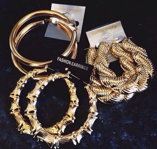 jewels earrings fashion earrings gold ring r&b style big gold earrings nail polish gold bamboo earrings soft ghetto hoop earrings