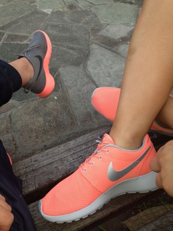 shoes nike pink grey cute roshe runs