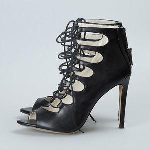 Zara BNWT Black Leather Lace Up Ankle Boot Sandals Shoe Heel | eBay