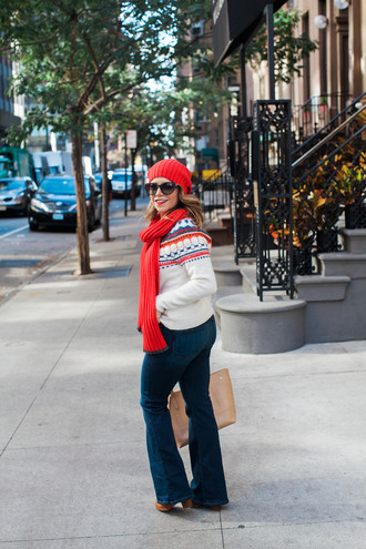 the corporate catwalk blogger knitted scarf knitted beanie winter sweater flare jeans