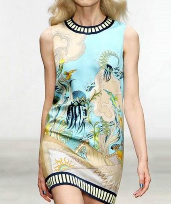 dress print dress floral dress summer dress runway sleeveless dress