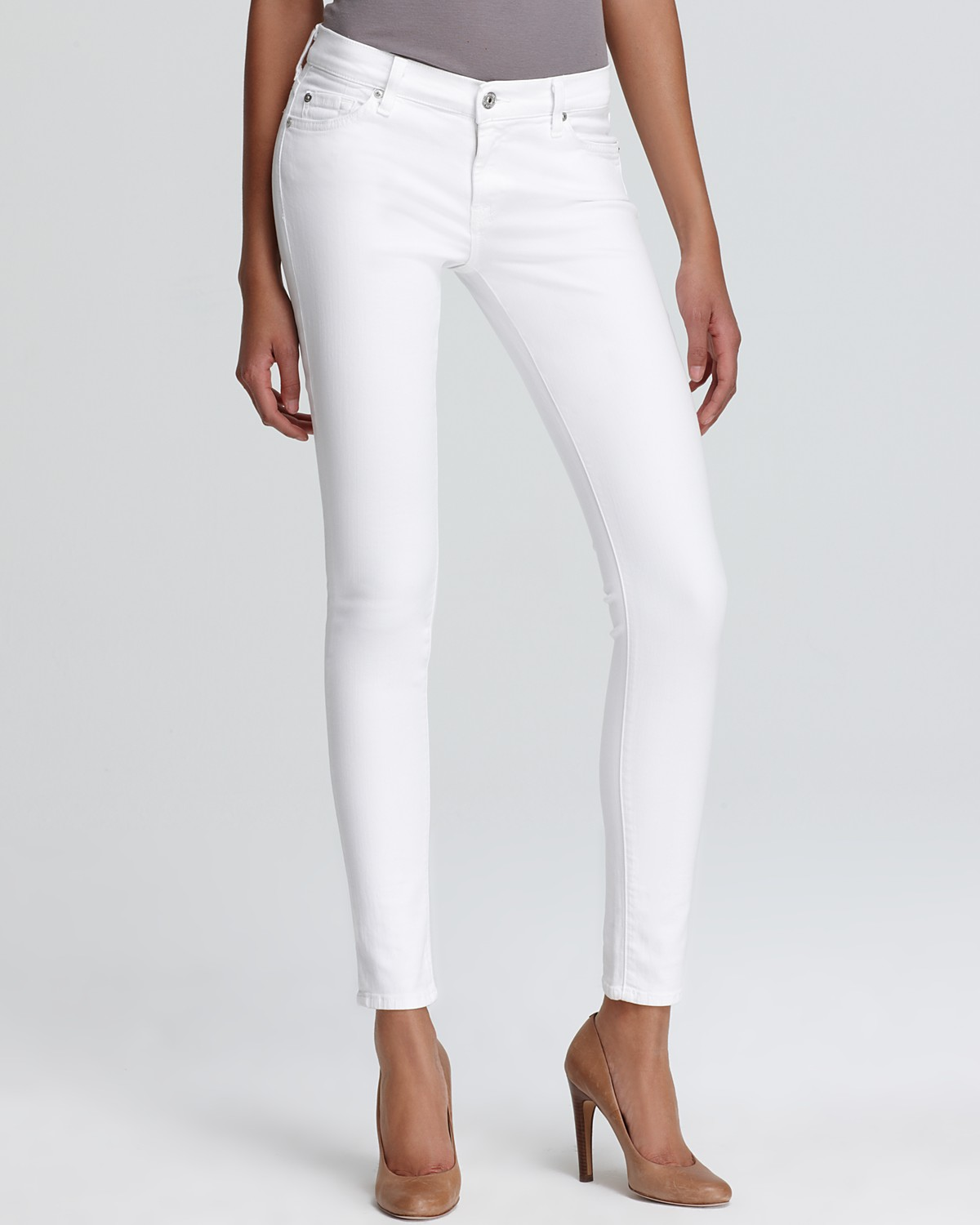 7 For All Mankind Jeans - The Skinny in Stark White | Bloomingdale's