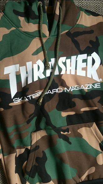 sweater thrasher camouflage green khaki army green hoodie sweatshirt