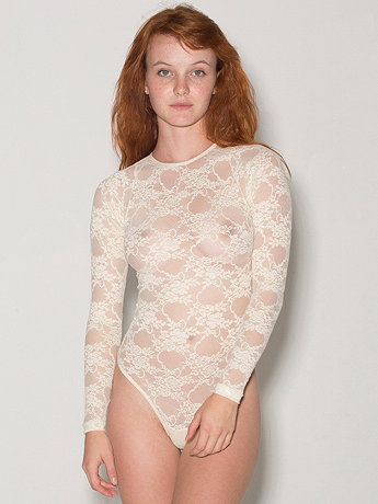 Stretch Floral Lace Long Sleeve Thong Bodysuit    American Apparel
