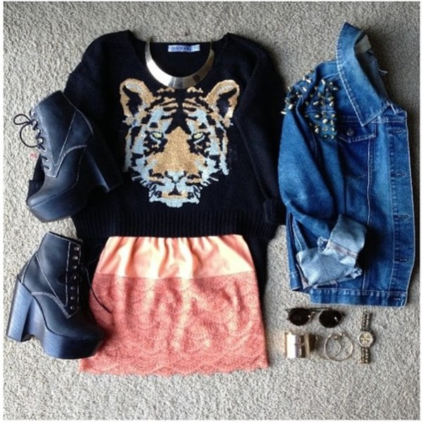 sweater girly cute tiger face vintage skirt shoes jacket jewels scarf edgy tiger